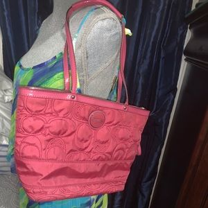 Quilted Pink Coach Purse